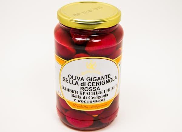 Оливки с косточкой красные Гигант Белла Чериньола Donna Sofia 550 гр