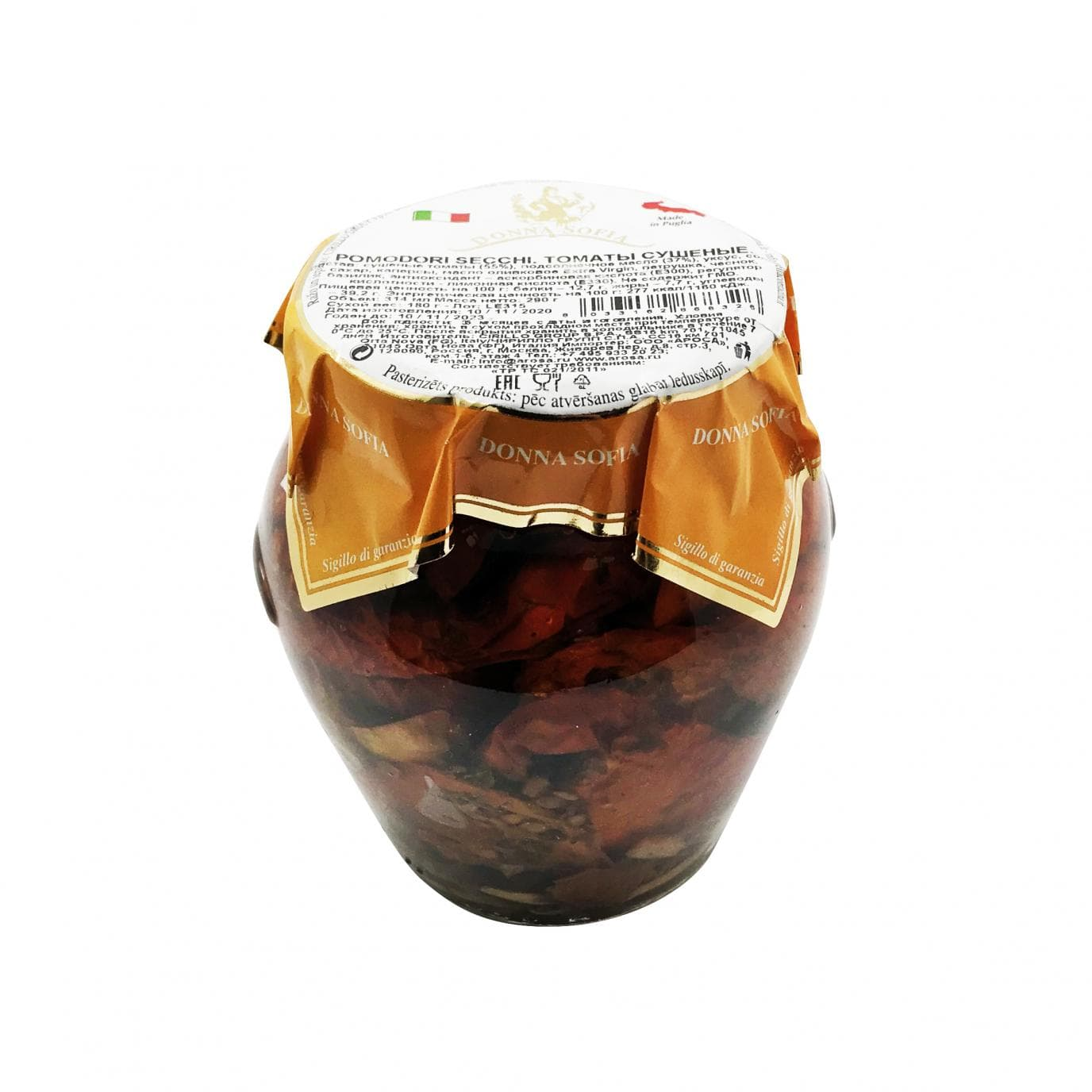 Томаты сушеные в масле 314 мл/290 г, Donna Sofia