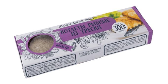 Котлеты рыбные из трески в панировке 300 г с/м, Don Kreveton