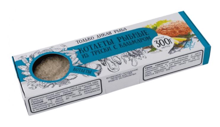 Котлеты рыбные из трески с кальмаром в панировке 300 г с/м, Don Kreveton