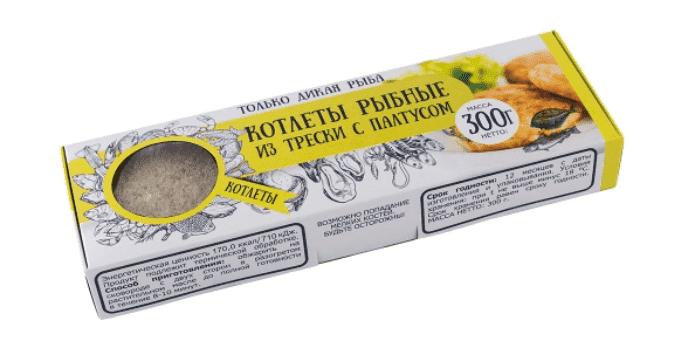 Котлеты рыбные из трески с палтусом в панировке 300 г с/м, Don Kreveton