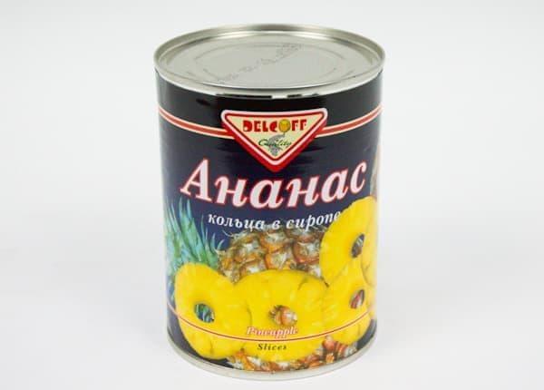 Ананасы в сиропе кусочки 565 г, DELCOFF