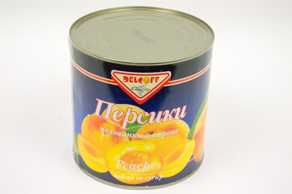 Персики в сиропе половинки 2,5кг, DELCOFF