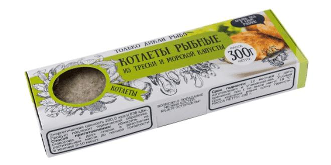 Котлеты рыбные из трески и морской капусты в панировке 300 г с/м, Don Kreveton
